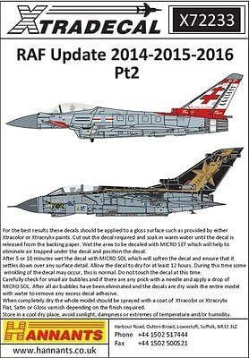 Xtradecal X72233 1/72 RAF Anniversary Updates 2014/15/16 Model Decals