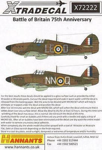 Xtradecal X72222 1/72 Hurricane Mk.I Battle of Britain 1940 Pt 1 Model Decals