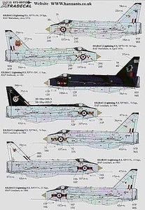 Xtradecal X72097 1/72 BAC/EE Lightning F.3 Model Decals - SGS Model Store