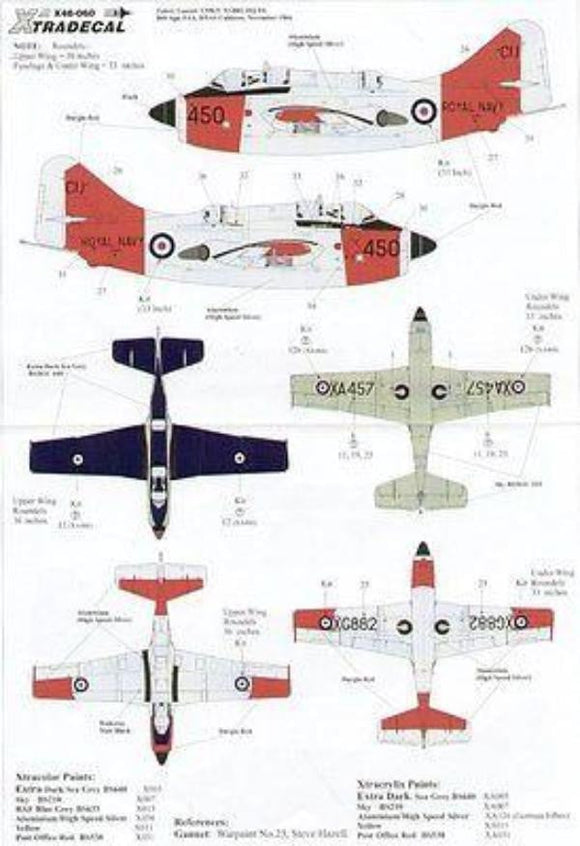 Xtradecal X48060 1/48 Fairey Gannet Model Decals