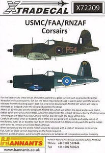 Xtradecal X72209 1/72 Vought F4U-1 Corsairs Model Decals