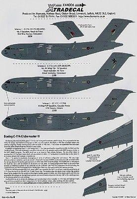 Xtradecal X44006 1/144 Boeing C-17A Globemaster III Export Model Decals - SGS Model Store