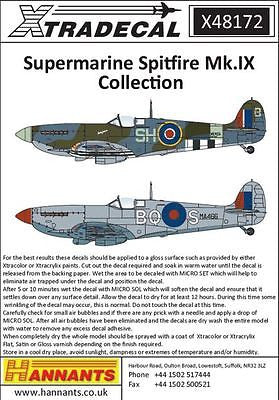 Xtradecal X48172 1/48 Supermarine Spitfire Mk.IX Collection Model Decals