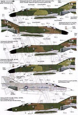 Xtradecal X72072 1/72 USAFE UK based McDonnell F-4 Phantoms Model Decals