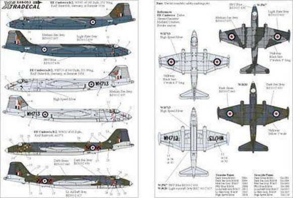 Xtradecal X48053 1/48 BAC/EE Canberra B.2 Part 1 Model Decals