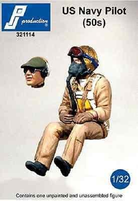 PJ Production 321114 1/32 U.S. Navy pilot of the 50s Resin Figure - SGS Model Store