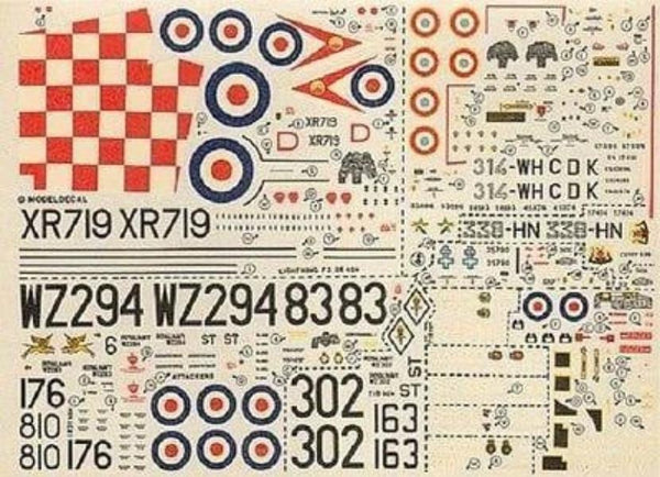 Modeldecal 56 1/72 Lightning, Lynx, FB.2, T-33A Model Decals - SGS Model Store