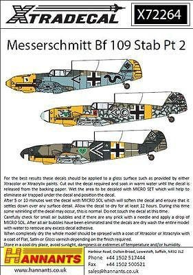 Xtradecal X72264 1/72 Messerschmitt Bf-109 Stab markings Pt 2 Model Decals - SGS Model Store