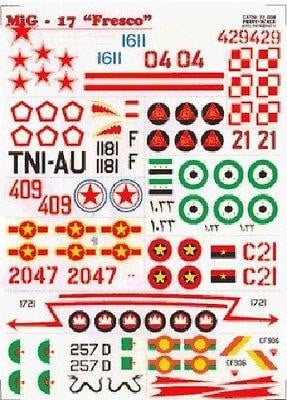 Print Scale 72-008 1/72 Mikoyan MiG-17 Fresco Model Decals - SGS Model Store