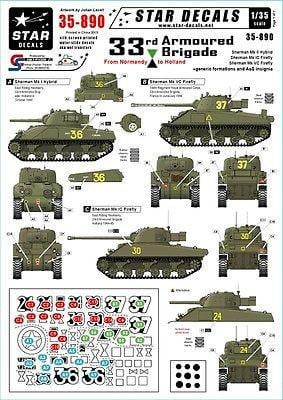 Star Decals 35-890 1/35 British 33rd Armoured Brigade Normandy to Holland Decals - SGS Model Store