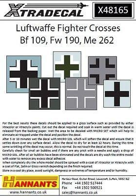 Xtradecal X48165 1/48 Luftwaffe Fighter Crosses Model Decals - SGS Model Store