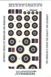 Xtradecal X48030 1/48 RAF National Insignia/Roundels C1 Type Model Decals - SGS Model Store