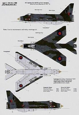 Xtradecal X32011 1/32 BAC/EE Lightning F.3 Model Decals - SGS Model Store