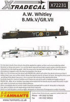 Xtradecal X72231 1/72 A.W. Whitley B.Mk.V/GR.Mk.VII Model Decals - SGS Model Store