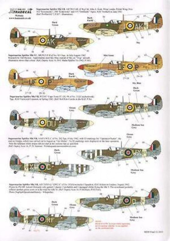 Xtradecal X48132 1/48 Supermarine Spitfire Mk.Vb/c Model Decals