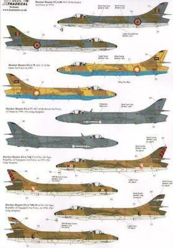 Xtradecal X72214 1/72 International Hawker Hunters Model Decals