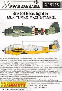 Xtradecal X48148 1/48 Bristol Beaufighter Model Decals