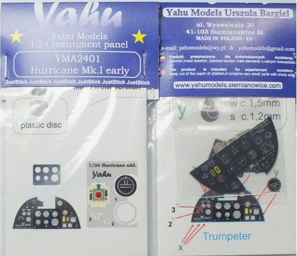 Yahu Models YMA2401 1/24 Hurricane Mk.I Instrument Panel for Trumpeter - SGS Model Store