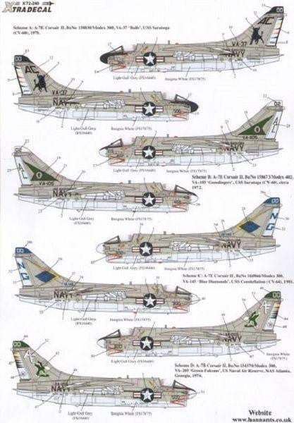 Xtradecal X72240 1/72 Vought A-7B/E Corsair II Part 1 Model Decals - SGS Model Store