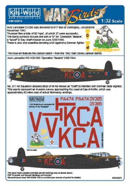 Kits-World KW132073 1/32 Avro Lancaster Thumper MkIII Model Decals - SGS Model Store