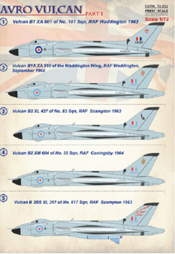 Print Scale 72-252 1/72 Avro Vulcan Part 1 Model Decals - SGS Model Store