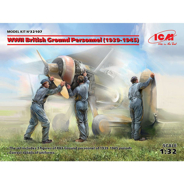 ICM 32107 1/32 WWII British Ground Personnel (1939-1945) 3 Figures