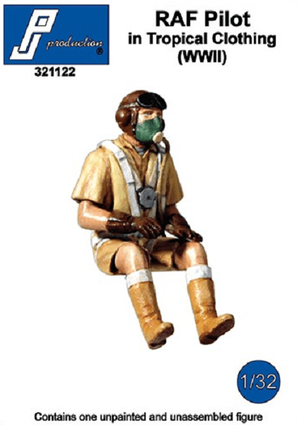 PJ Production 321122 1/32 RAF Pilot in Tropical Clothing (WWII) Resin Figure - SGS Model Store
