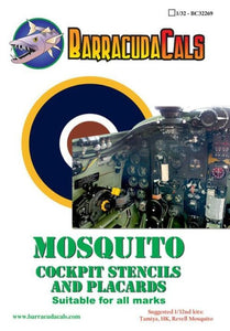 Barracuda Studios BC32269 1/32 Mosquito Cockpit Stencils and Placards Model Decals - SGS Model Store