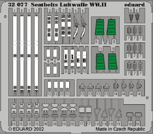 Eduard 32507 1/32 Photo etched Seat belts Luftwaffe WWII - SGS Model Store