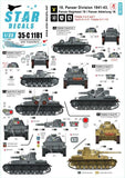 Star Decals 35-C1181 1/35 18. Panzer Division # 1 Model Decals - SGS Model Store