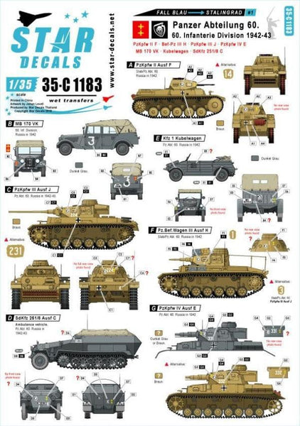Star Decals 35-C1183 1/35 Fall Blau and Stalingrad # 1 Model Decals - SGS Model Store
