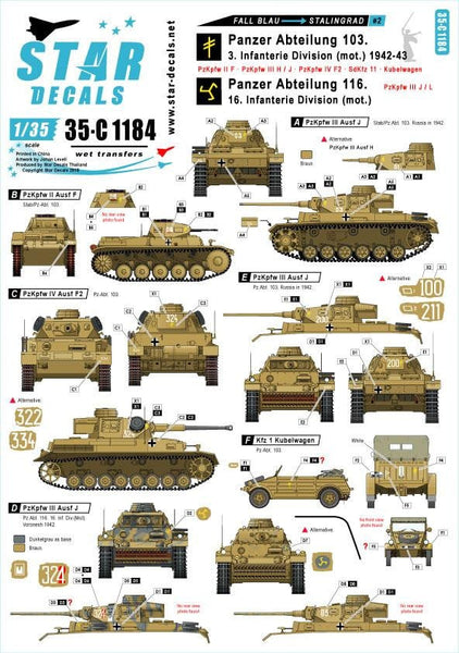 Star Decals 35-C1184 1/35 Fall Blau and Stalingrad # 2 Model Decals - SGS Model Store