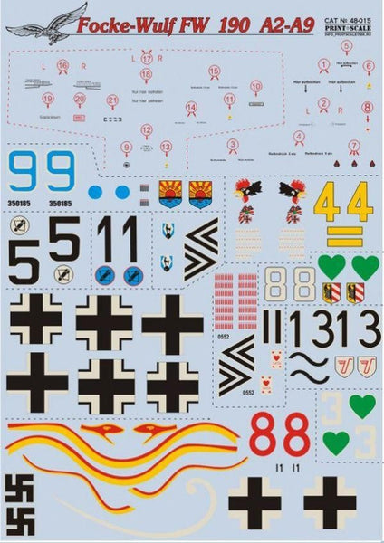 Print Scale 48-015 1/48 Focke-Wulf Fw-190А-2/А-9 Model Decals - SGS Model Store