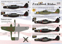 Print Scale 48-035 1/48 Northrop P-61 Black Widow Part 2 Model Decals - SGS Model Store