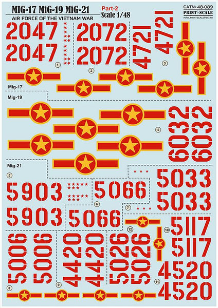 Print Scale 48-089 1/48 MiG Air force of the Vietnam war Part 2 Model Decals