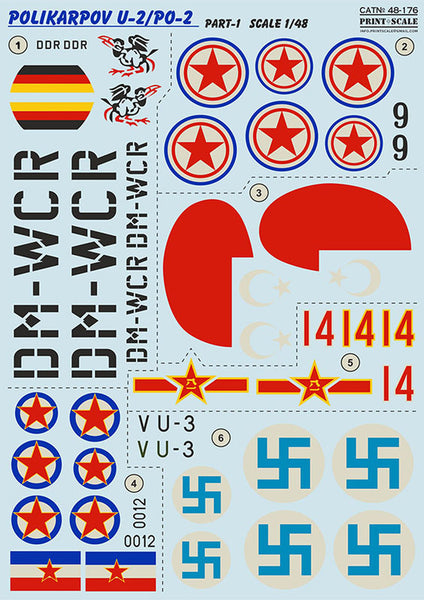 Print Scale 48-176 1/48 Polikarpov U-2/Po-2 Part 1 Decals
