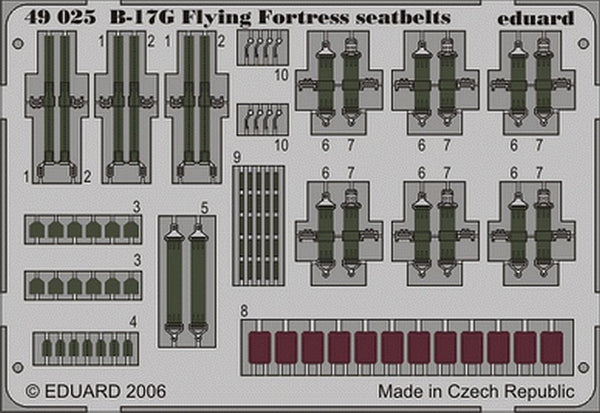 Eduard 49025 1/48 Boeing B-17G Flying Fortress seat belts Monogram and Revell - SGS Model Store