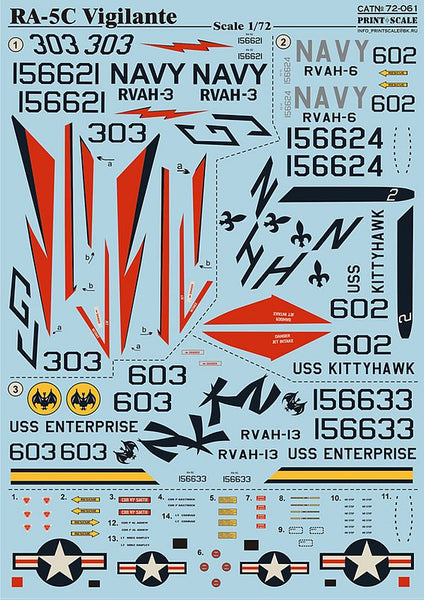 Print Scale 72-061 1/72 North-American RA-5C Vigilante Model Decals