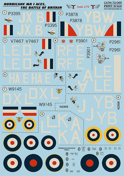 Print Scale 72-065 1/72 Hurricane Battle Of Britain Aces Model Decals