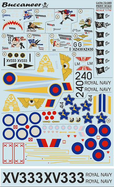 Print Scale 72-085 1/72 Blackburn/Hawker-Siddeley Buccaneer Decals