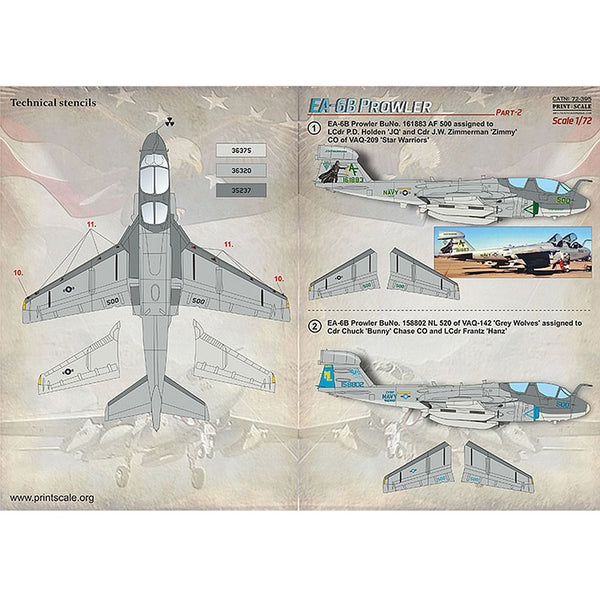 Print Scale 72-395 1/72 Grumman EA-6B Prowler Part 2 Decals