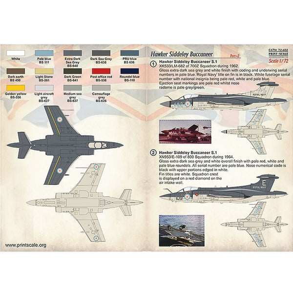 Print Scale 72-402 1/72 Blackburn Buccaneer Part-2 Decals
