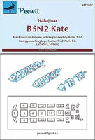 Peewit M72037 1/72 Nakajima B5N2 'Kate' paint mask for Airfix kits