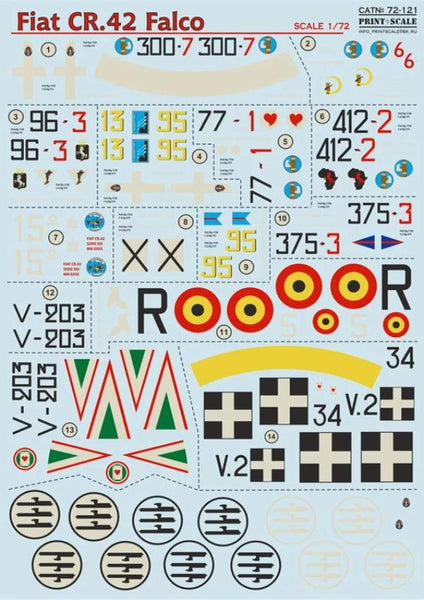 Print Scale 72-121 1/72 Fiat CR.42 Falco Model Decals