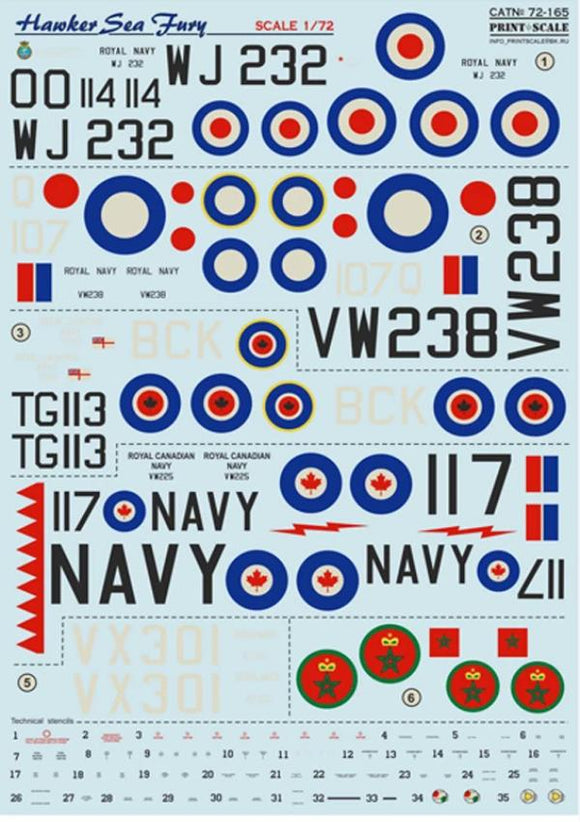 Print Scale 72-165 1/72 Hawker Sea Fury Model Decals