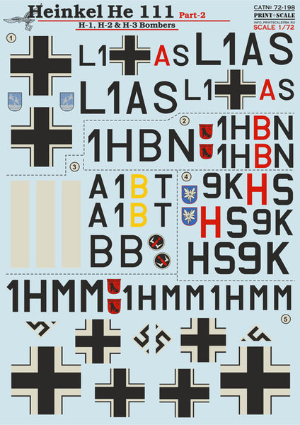 Print Scale 72-198 1/72 Heinkel He-111 H-1, H-2 & H-3 Model Decals