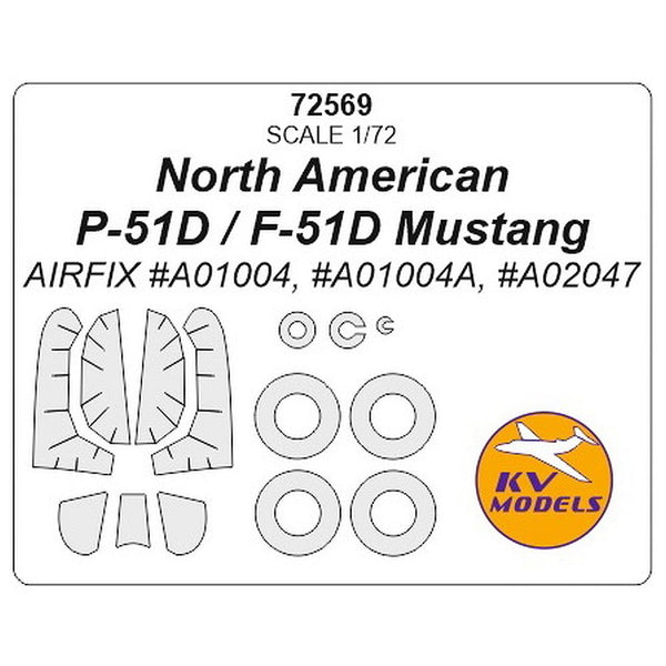 KV Models 72569 1/72 P-51D Mustang and wheels Paint Mask for Airfix