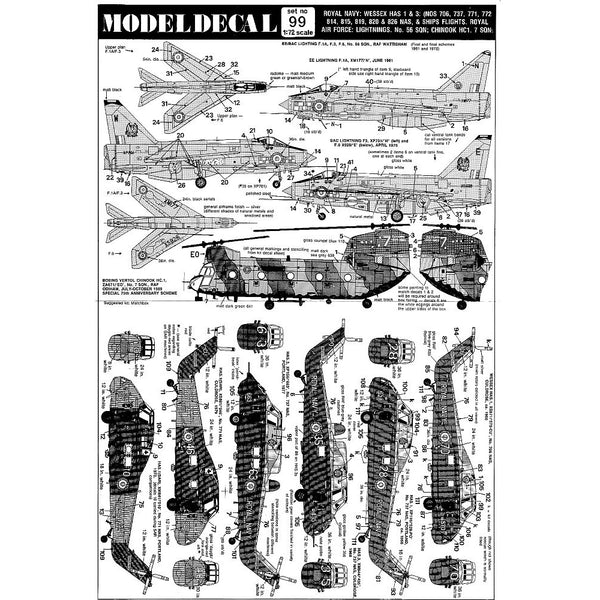 Modeldecal 99 1/72 Wessex HAS 1 & 3, Lightning, Chinook Decals