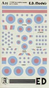Almark A25 1/72 RAF Low Visibility Roundels and Fin Flashes Model Decals - SGS Model Store