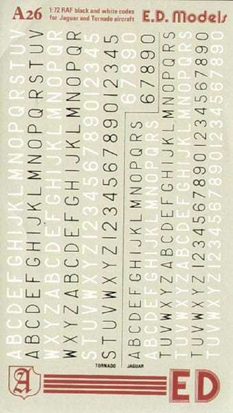 Almark A26 1/72 RAF Code Letters for Tornados and Jaguars Model Decals - SGS Model Store